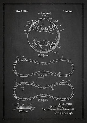 Baseball Patent Drawing From 1927 Poster by Aged Pixel