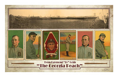 Baseball Player Ty Cobb Poster by Craig Tinder