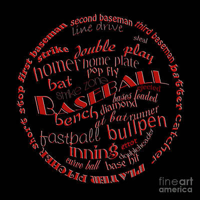 Baseball Terms Typography Red On Black Poster by Andee Design