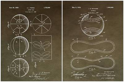 Basketball Baseball Patent 2 Poster by Dan Sproul