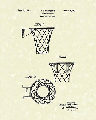 Basketball Hoop 1936 Patent Art Poster by Prior Art Design