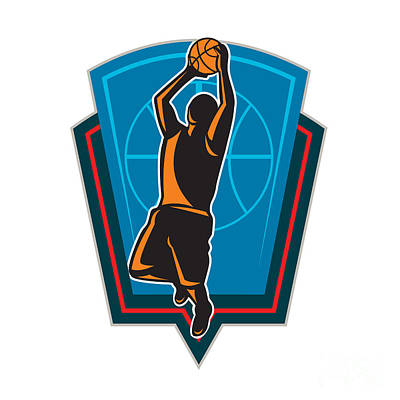 Basketball Player Rebounding Ball Shield Retro Poster by Aloysius Patrimonio