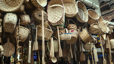 Baskets And Spoons Poster by Joan Carroll