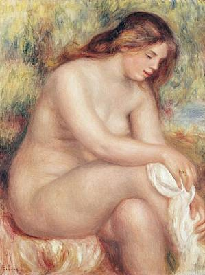 Bather Drying Herself Poster by Pierre Auguste Renoir