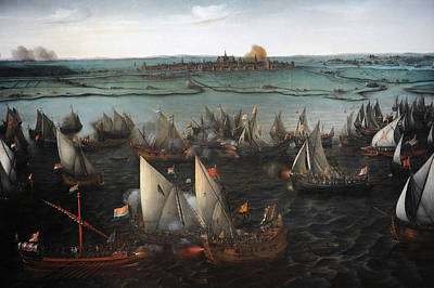 Battle Between Dutch And Spanish Ships On The Haarlemmermeer, 1629, By Hendrik Cornelisz Vroom Poster by Bridgeman Images