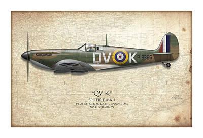 Battle Of Britain Qvk Spitfire - Map Background Poster by Craig Tinder