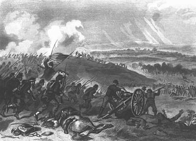 Battle Of Gettysburg - Final Charge Of The Union Forces At Cemetery Hill, 1863 Pub. 1865 Engraving Poster by American School