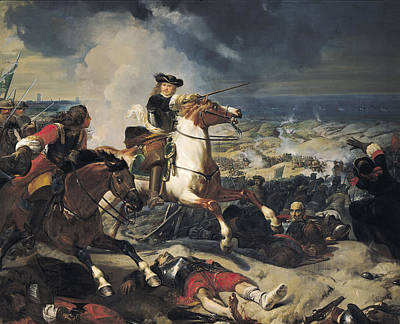 Battle Of The Dunes, 14th June 1658, 1837 Oil On Canvas Poster by Charles-Philippe Lariviere