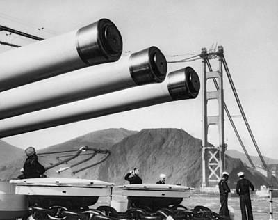 Battleship Under Gg Bridge Poster by Underwood Archives