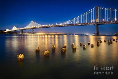 Bay Bridge At Night Poster by George Oze