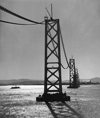 Bay Bridge Under Construction Poster by Ray Hassman