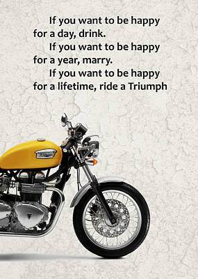 Be Happy Triumph Poster by Mark Rogan
