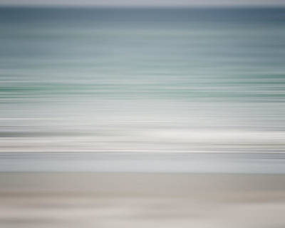 Beach Abstract In Shades Of Pale Blue And Grey Poster by Lisa Russo