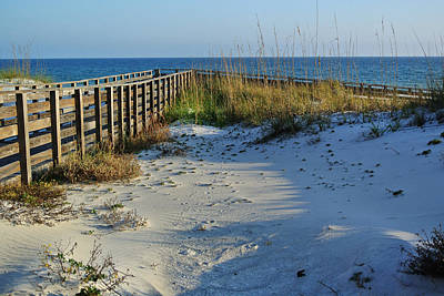Beach And The Walkway  Poster by Michael Thomas