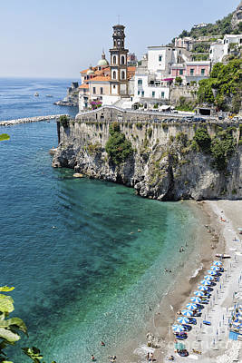 Beach At The Amalfi Coast Poster by George Oze
