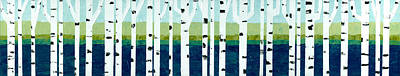 Beach Birches Pano Poster by Michelle Calkins