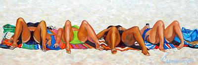 Beach Bunnies Art By Betty Cummings Poster by Sharon Cummings