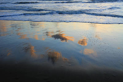 Beach Clouds Reflected At Sunset Texel Poster by Duncan Usher