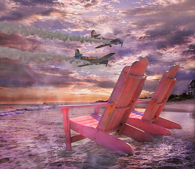 Beach Flight Poster by Betsy Knapp