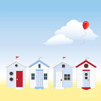 Beach Huts Poster by Jane Rix