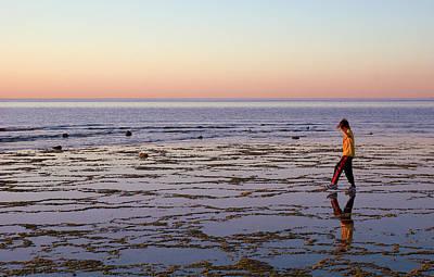 Beach Mirror Walk Poster by Dave Dilli