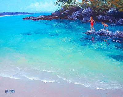 Beach Painting - A Day To Remember Poster by Jan Matson