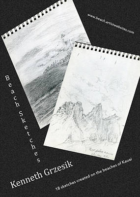 Beach Sketches Poster 2 Poster by Kenneth Grzesik