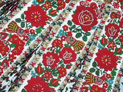 Hungarian Beaded Emboidery From Kalotaszeg Photograph Print Poster by Andrea Lazar