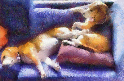 Beagles On The Couch Poster by Natalia Corres