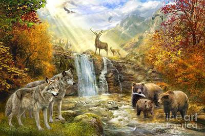 Bear Falls Poster by Jan Patrik Krasny