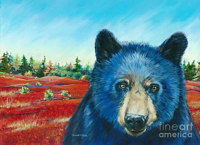 Bear In The Blueberies Poster by Darlene Watters