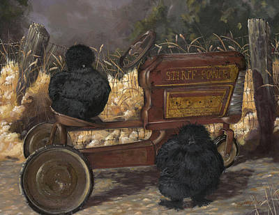 Bearded Black Silkie Bantam Pair Poster by Gilda Goodwin
