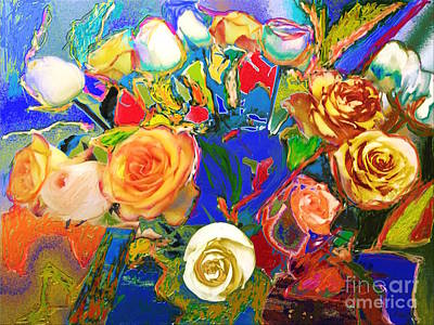 Beatles Flowers Abstract Poster by Eunice Broderick