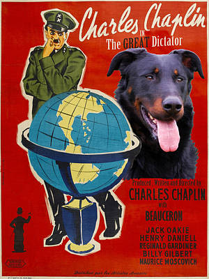 Beauceron Art Canvas Print - The Great Dictator Movie Poster Poster by Sandra Sij