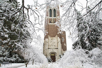 Beaumont Tower Ice Storm  Poster by John McGraw