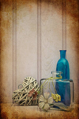 Beautiful Bottle And Vase With Heart Still Life Love Concept Poster by Matthew Gibson
