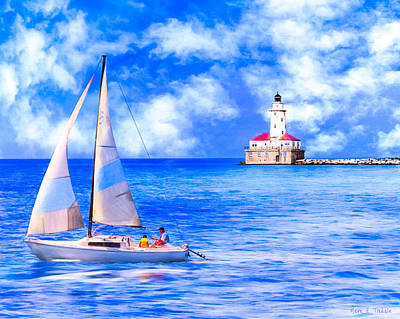 Beautiful Day For Sailing - Chicago Harbor Light Poster by Mark E Tisdale