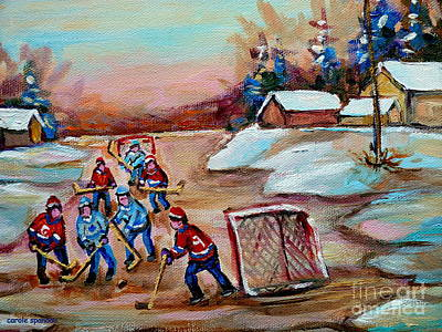 Beautiful Day-pond Hockey-hockey Game-canadian Landscape-winter Scenes-carole Spandau Poster by Carole Spandau