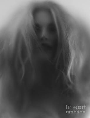Beautiful Young Woman Face Behind Hazy Glass Poster by Oleksiy Maksymenko