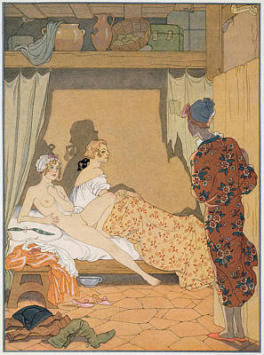 Bedroom Scene Poster by Georges Barbier