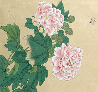 Bee And Peony Poster by Ichimiosai