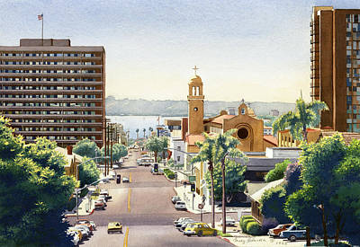 Beech Street In San Diego Poster by Mary Helmreich
