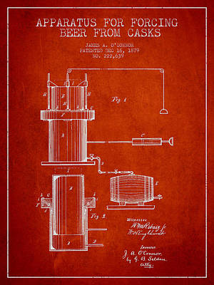 Beer Apparatus Patent Drawing From 1879 - Red Poster by Aged Pixel