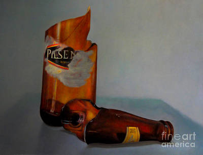 Beer Bottle Art Poster by Al Bourassa