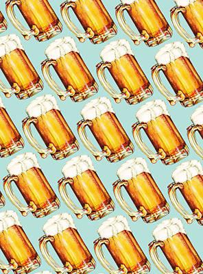 Beer Pattern Poster by Kelly Gilleran