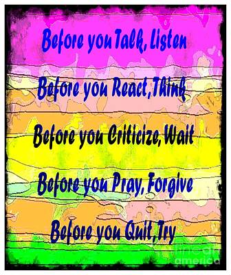 Before You Quit  Poster by Barbara Griffin