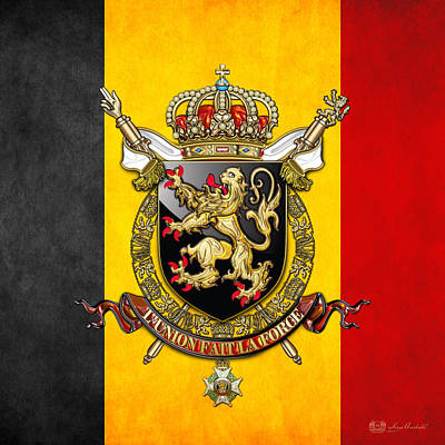 Belgium Coat Of Arms And Flag  Poster by Serge Averbukh