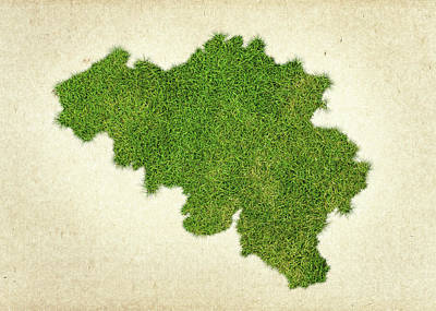 Belgium Grass Map Poster by Aged Pixel