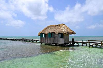 Belize Pier And Seascape Poster by Kristina Deane