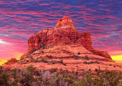 Bell Rock Sunset Poster by Edwin Verin